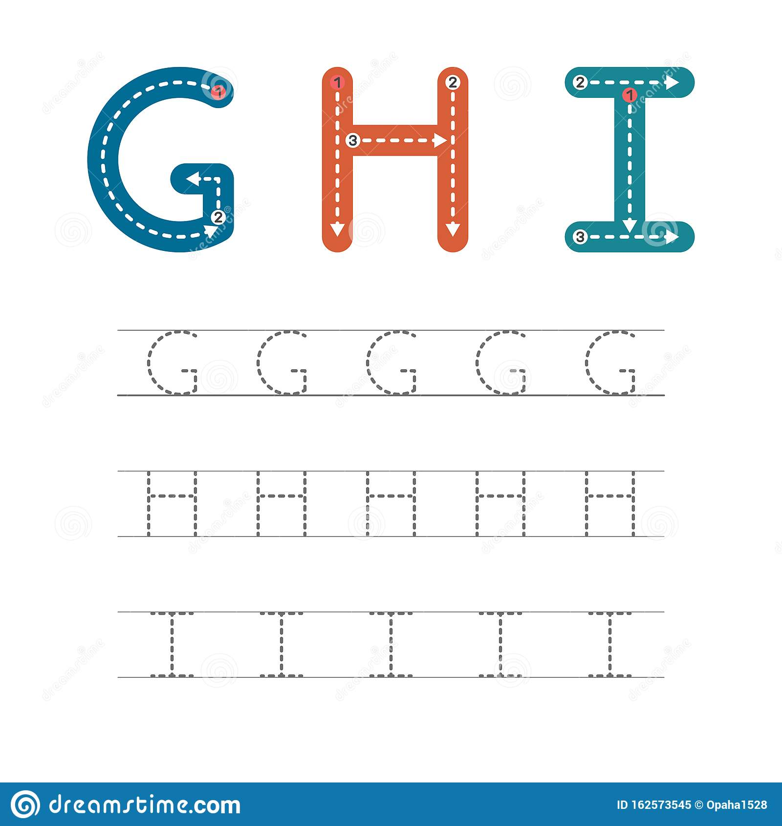 Learn To Write Letters Ghi Stock Vector Illustration Of