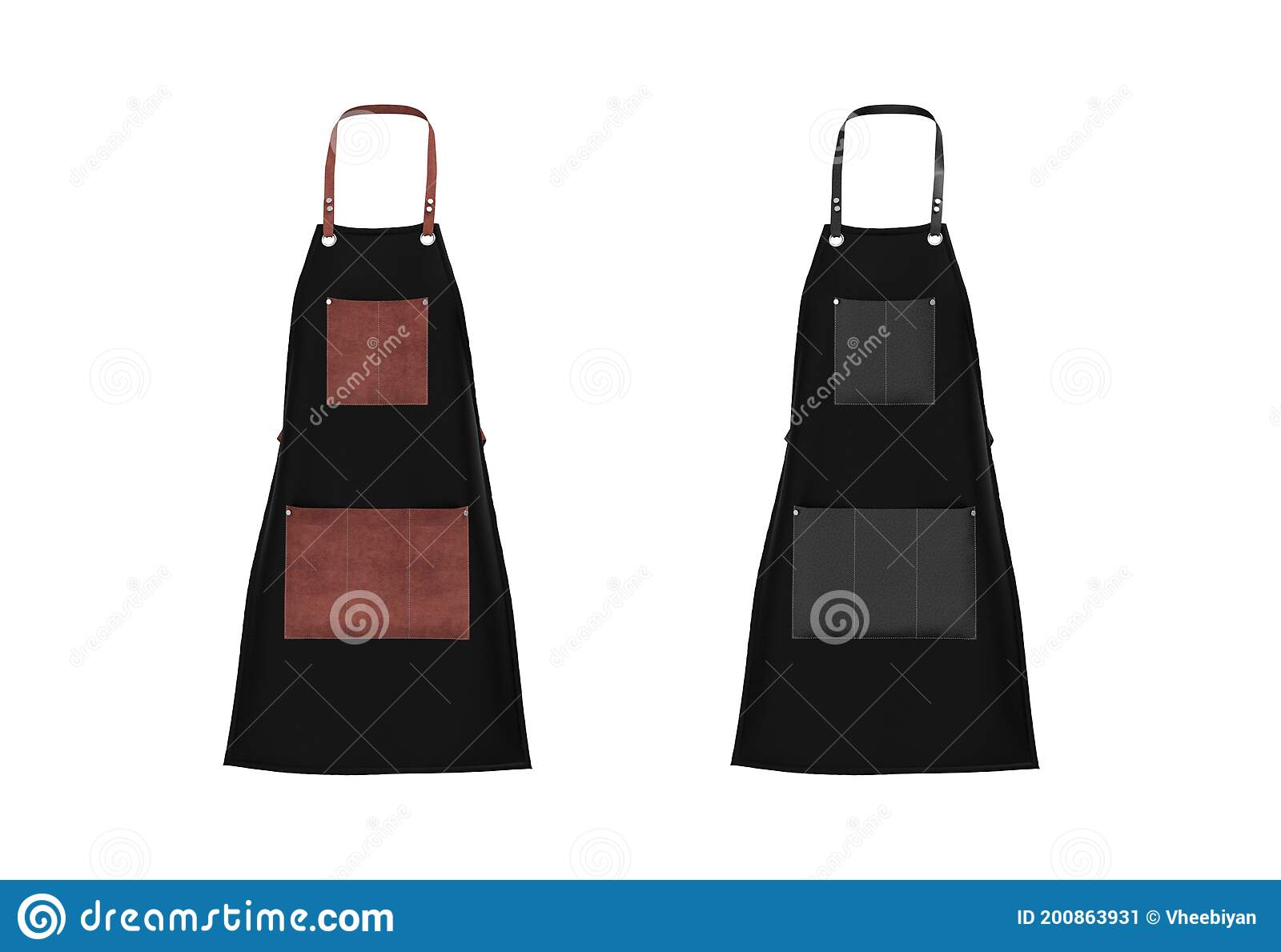 Psd files consist smart object. Leather Aprons Mock Up Isolated On White Stock Illustration Illustration Of Black Clean 200863931