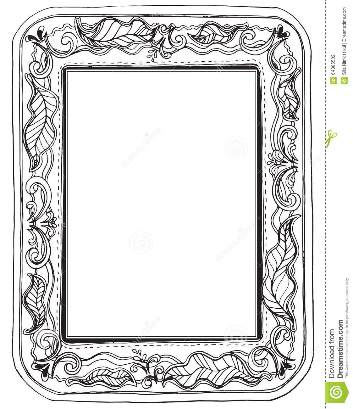 Leave Big Frame And Sewing Style Stock Vector