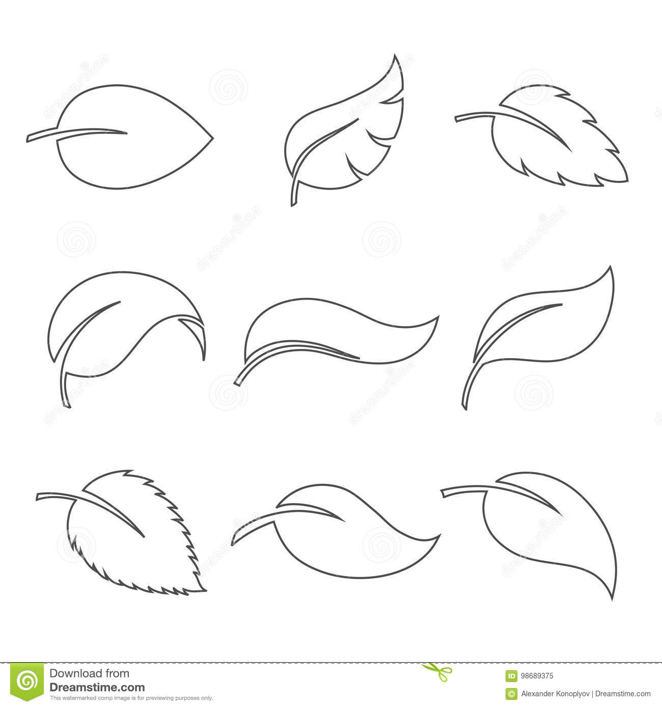 Leaves Thin Icon Vector Set Stock Vector
