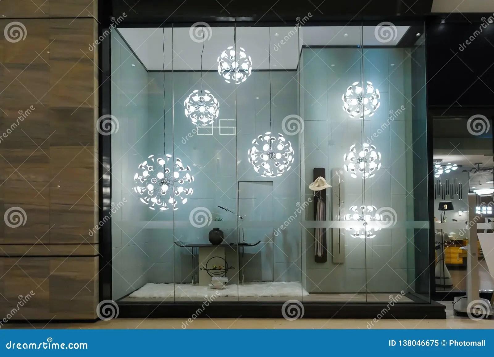 https www dreamstime com led lamp lighting furniture shop window showroom image138046675