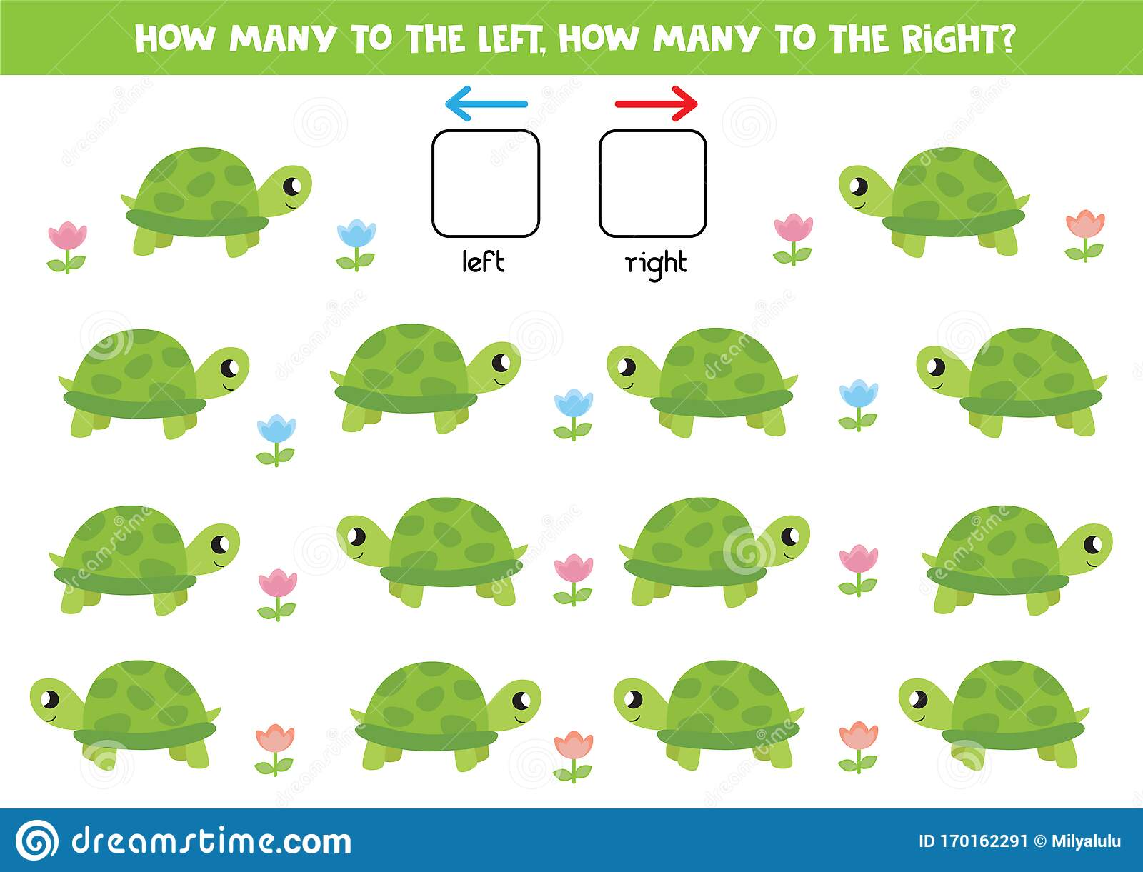 Left And Right With Cartoon Turtle Educational Game For