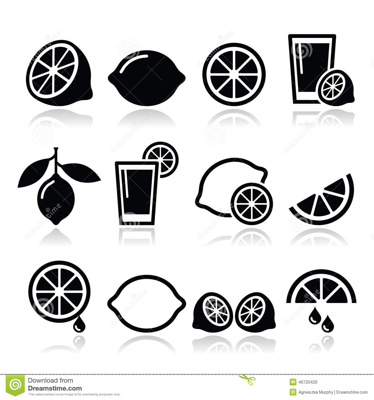 Lemon Lime Icons Set Stock Illustration Illustration Of
