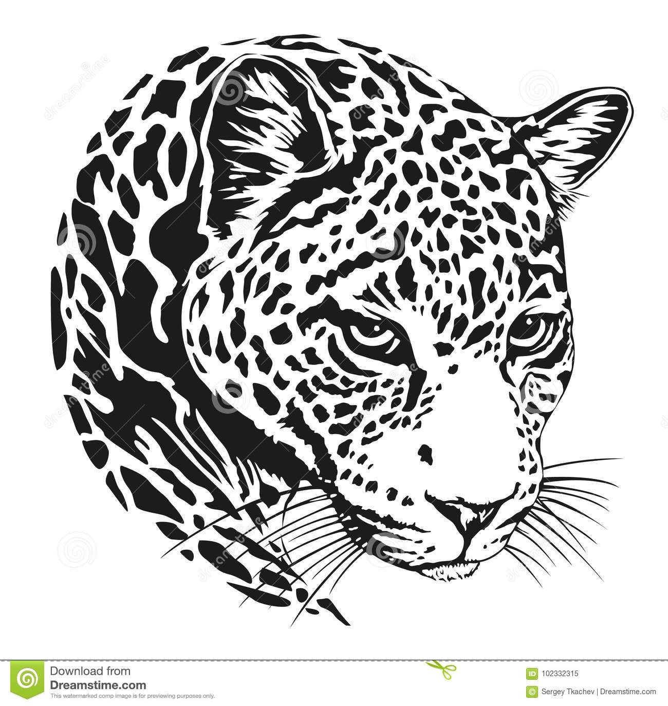 Leopard Face Tattoo Vector Illustration Print Stock