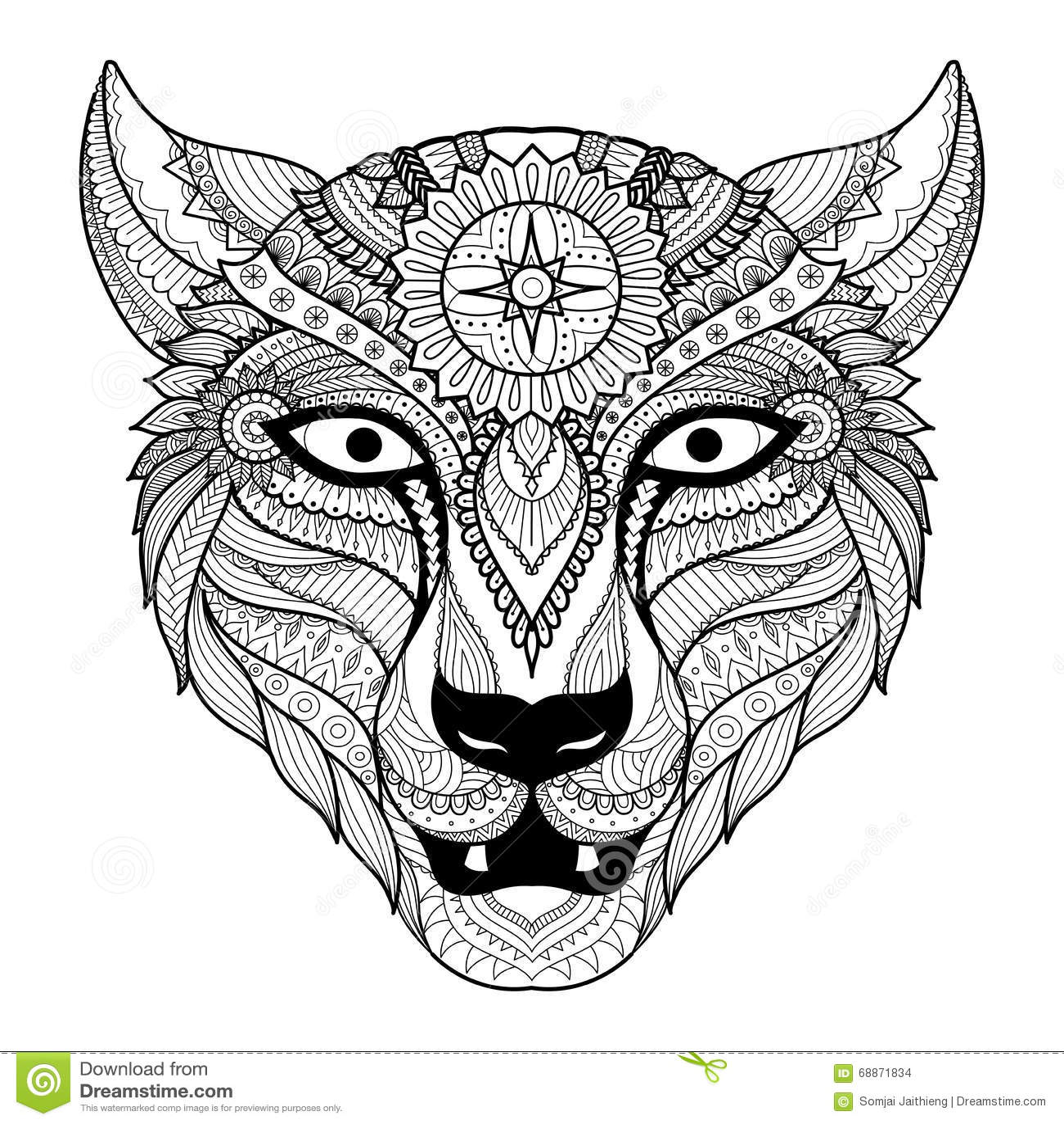 Leopard Line Art Design For Coloring Book For Adult