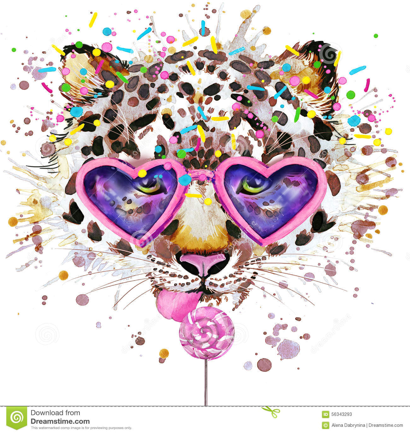Leopard T Shirt Graphics Leopard Illustration With Splash