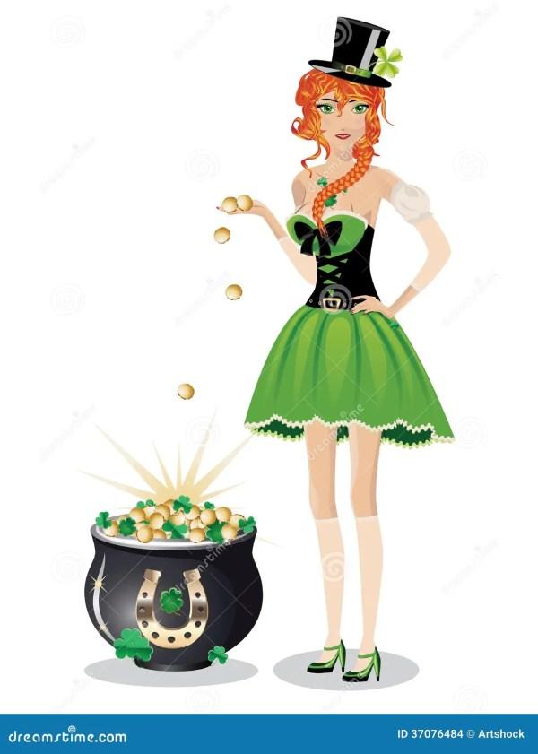 Leprechaun Girl With Pot Of Gold Stock Vector ...