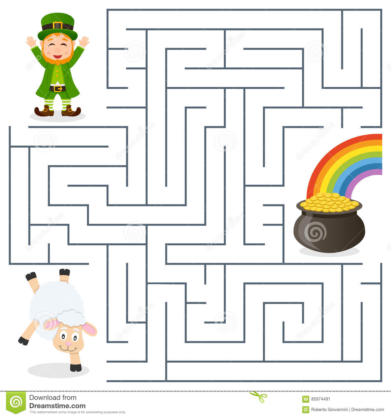 Leprechaun Sheep Pot Gold Maze For Kids Stock Vector