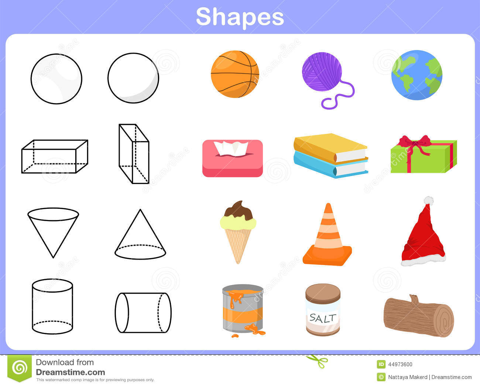 Lernen Der Formen Mit Gegenstand Fur Kinder Vektor