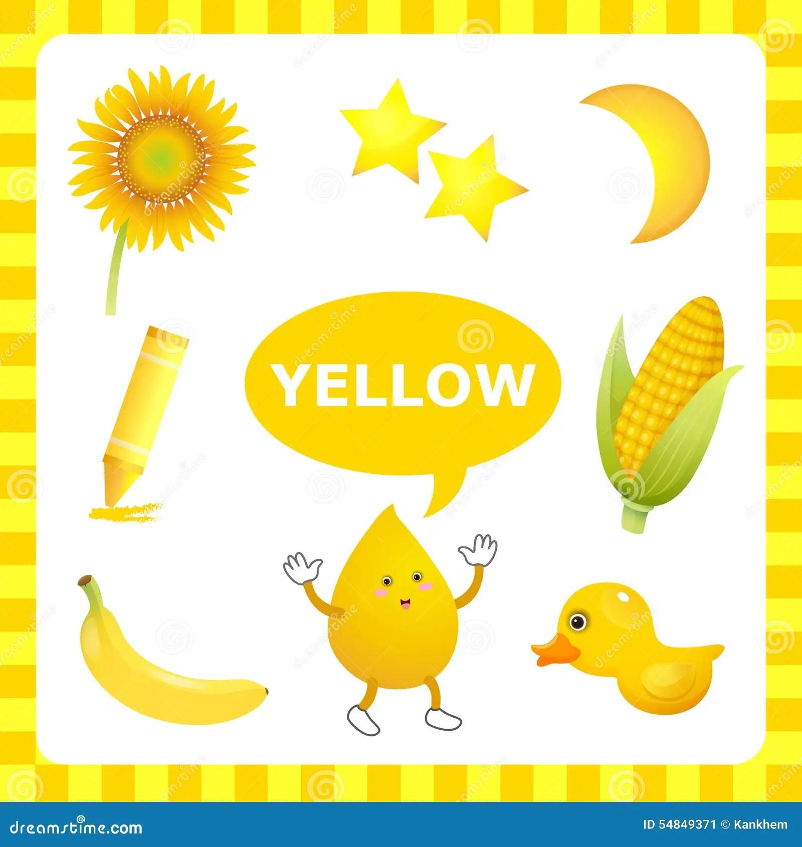 Lernen Der Gelben Farbe Vektor Abbildung Illustration Von