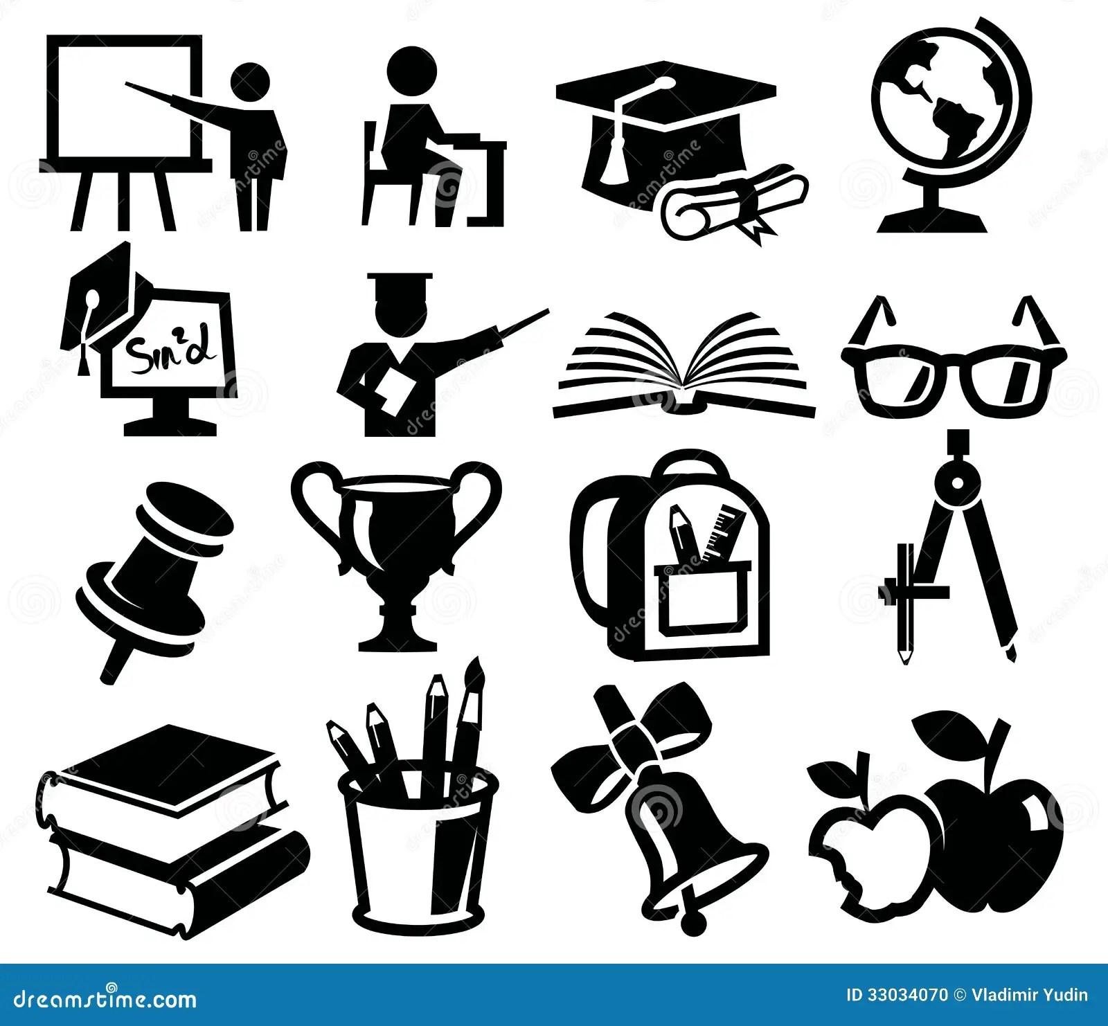Les Icones Ont Place L Education Illustration De Vecteur