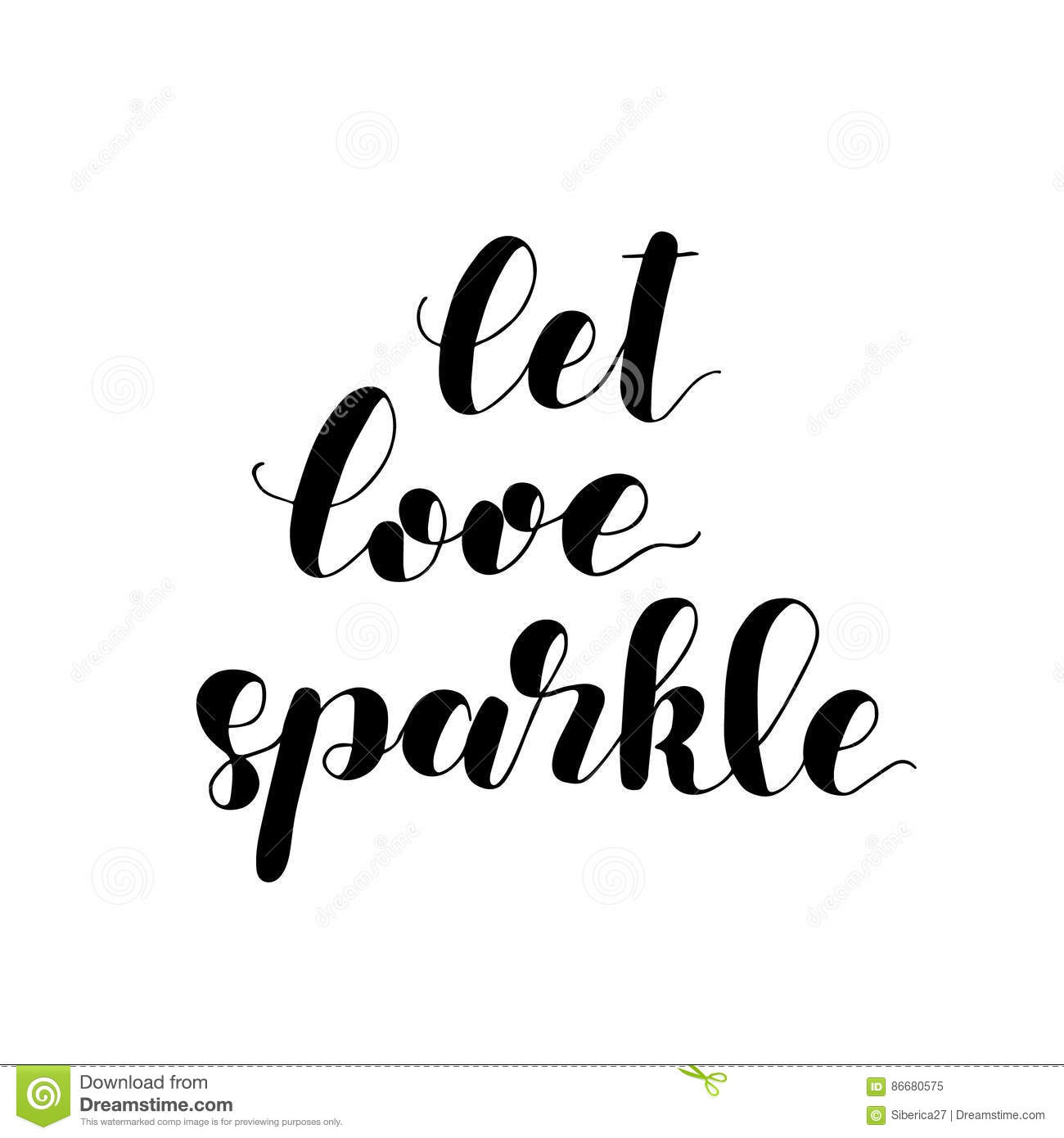 Let Love Sparkle Brush Lettering Illustration Stock