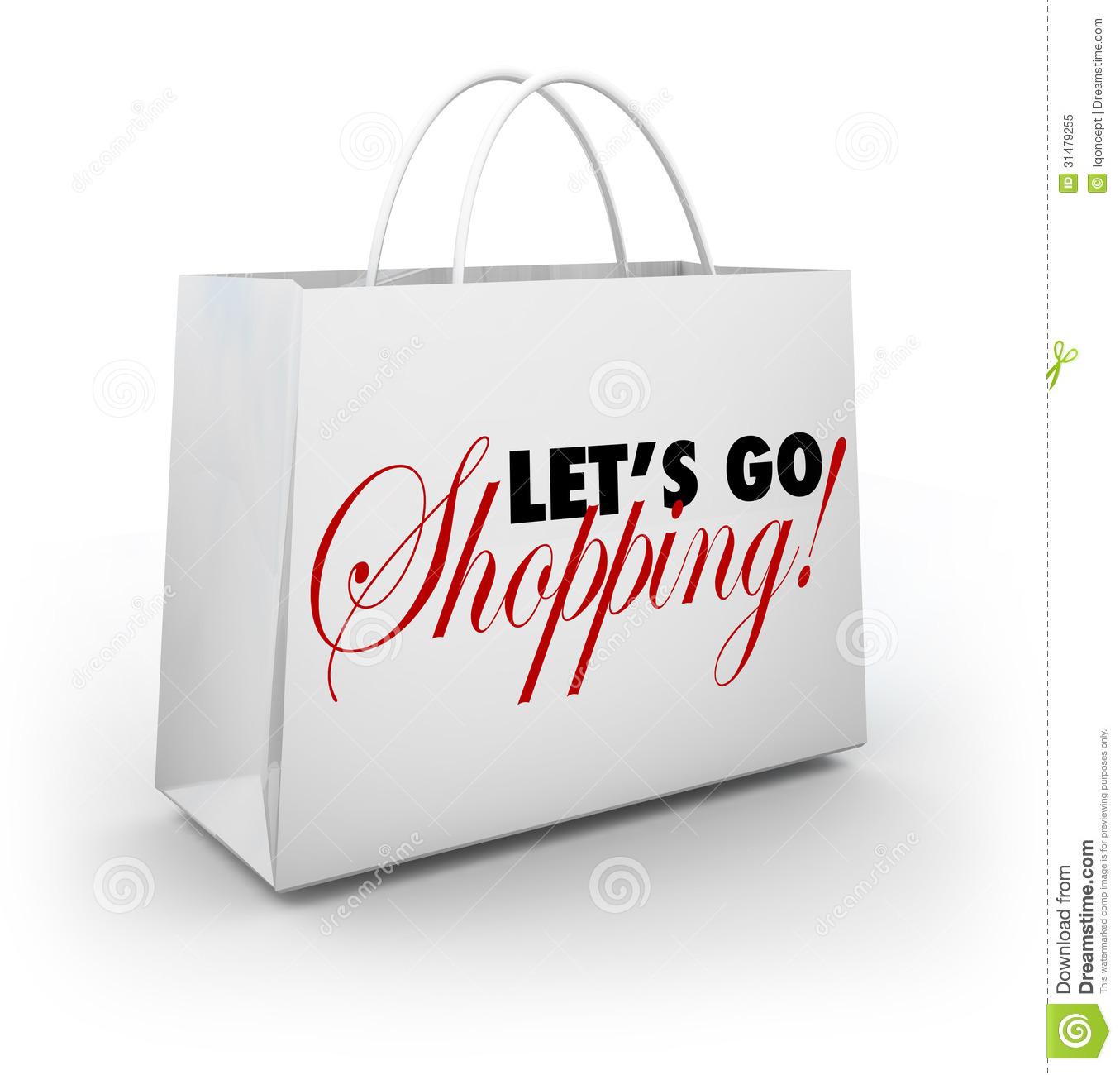 Let S Go Shopping White Merchandise Bag Words Royalty Free