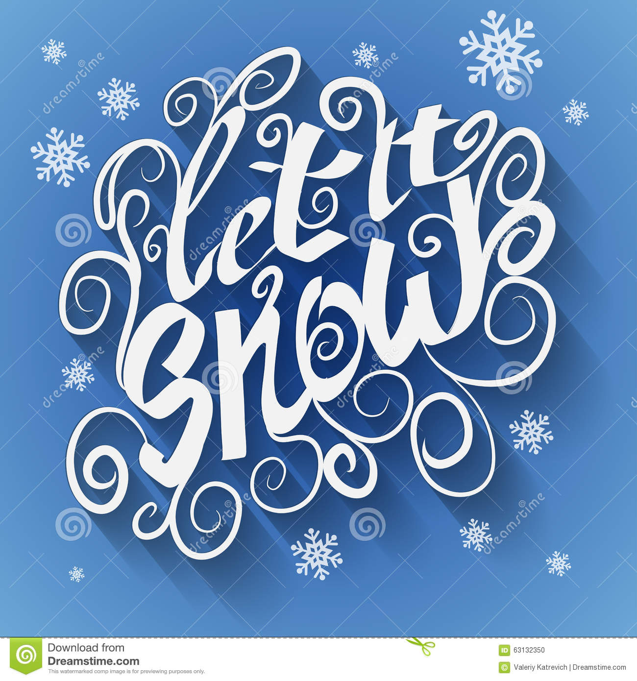 Let It Snow Christmas Greeting Card Vector Winter Stock
