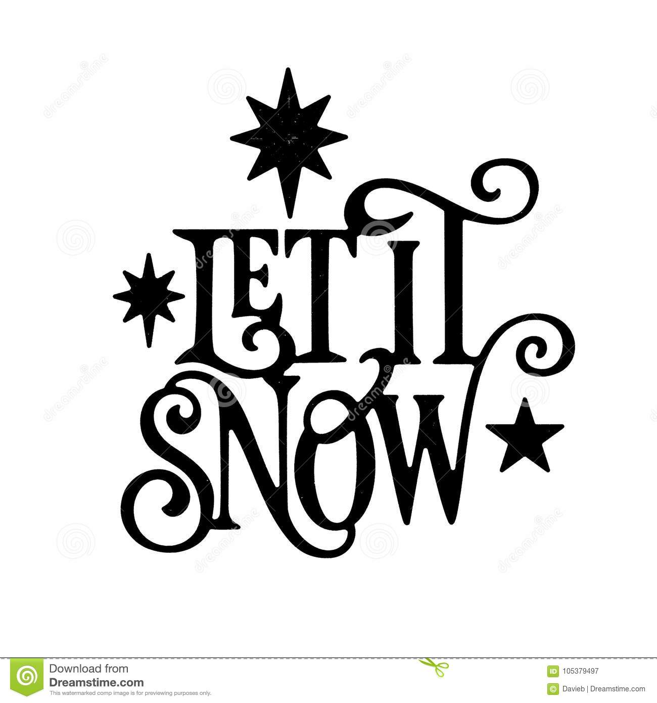 Let It Snow Christmas Wordart Stock Illustration