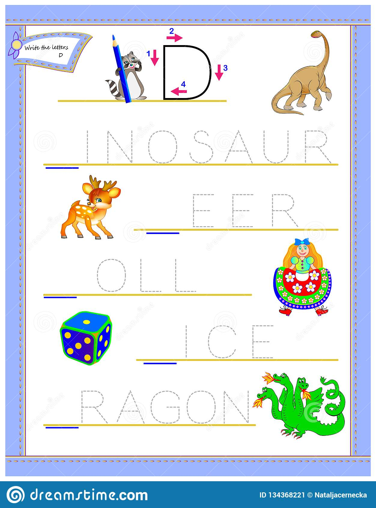 Letra De Trazado D Para El Alfabeto Ingles Del Estudio
