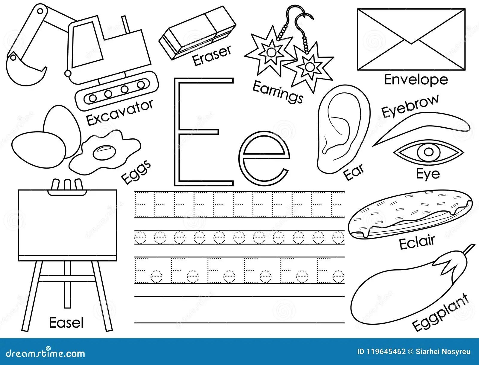Letra E Alfabeto Ingles Juego Educativo Para Los Ninos
