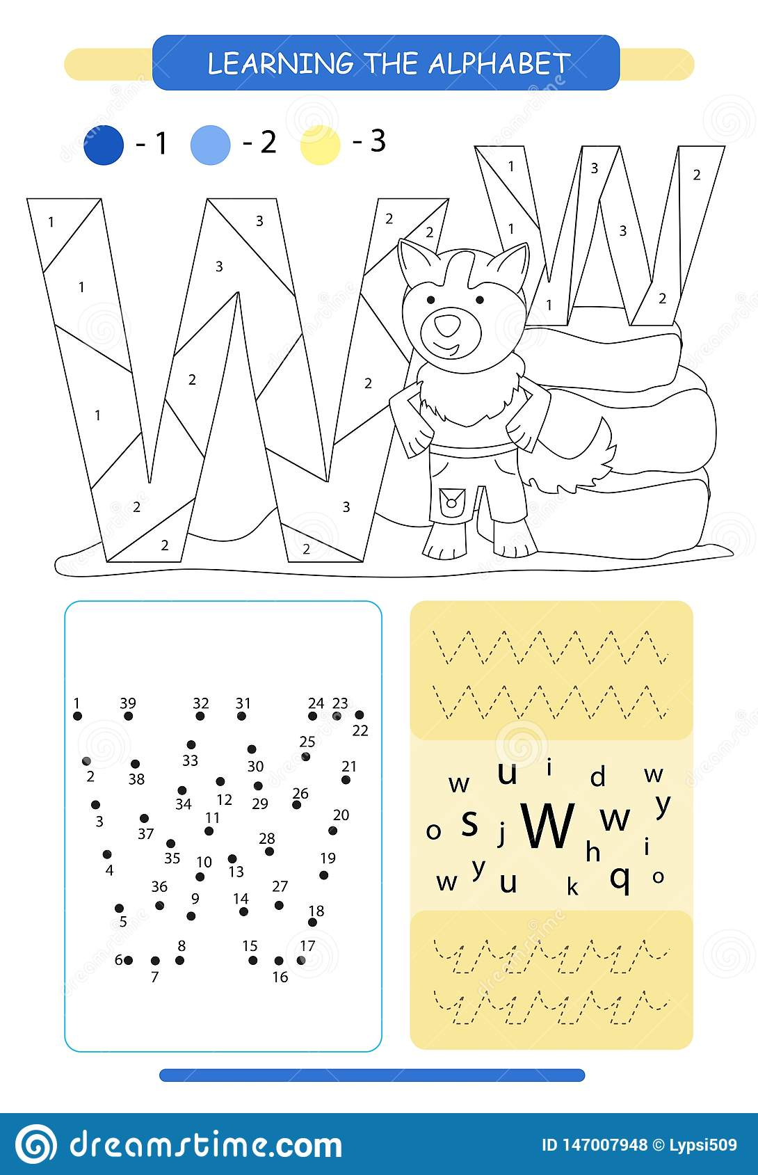 Letter W And Funny Cartoon Wolf Animals Alphabet A Z