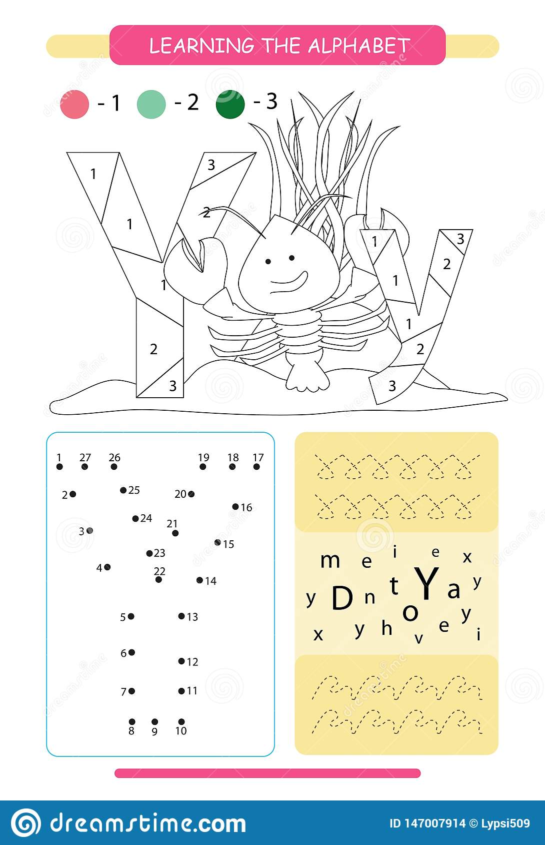 Letter Y And Funny Cartoon Yabby Animals Alphabet A Z