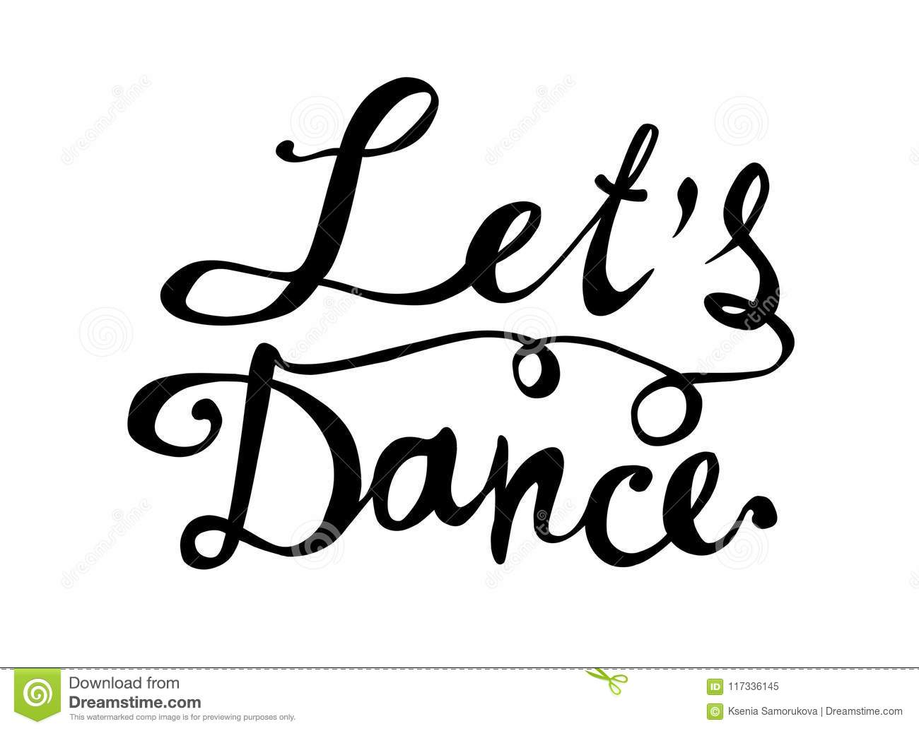 Lets Dance Hand Written Word On White Stock Vector
