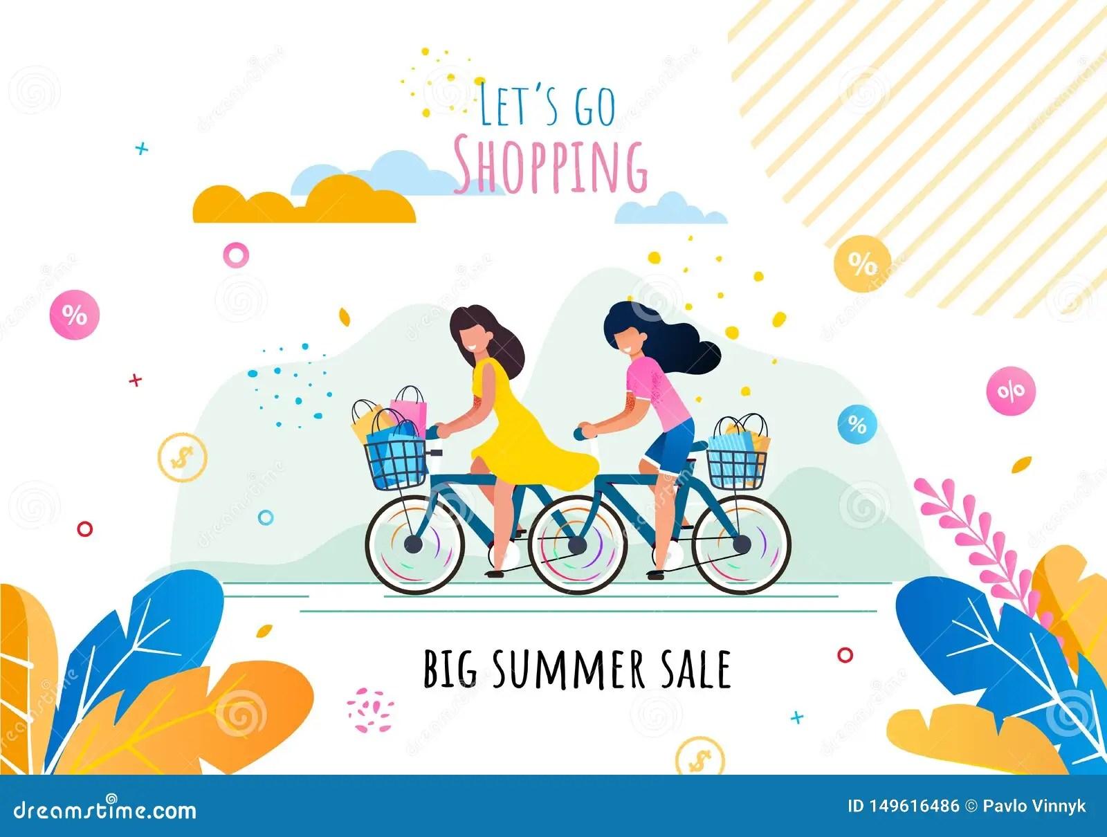 Lets Go Shopping On Summer Sale Motivation Banner Stock