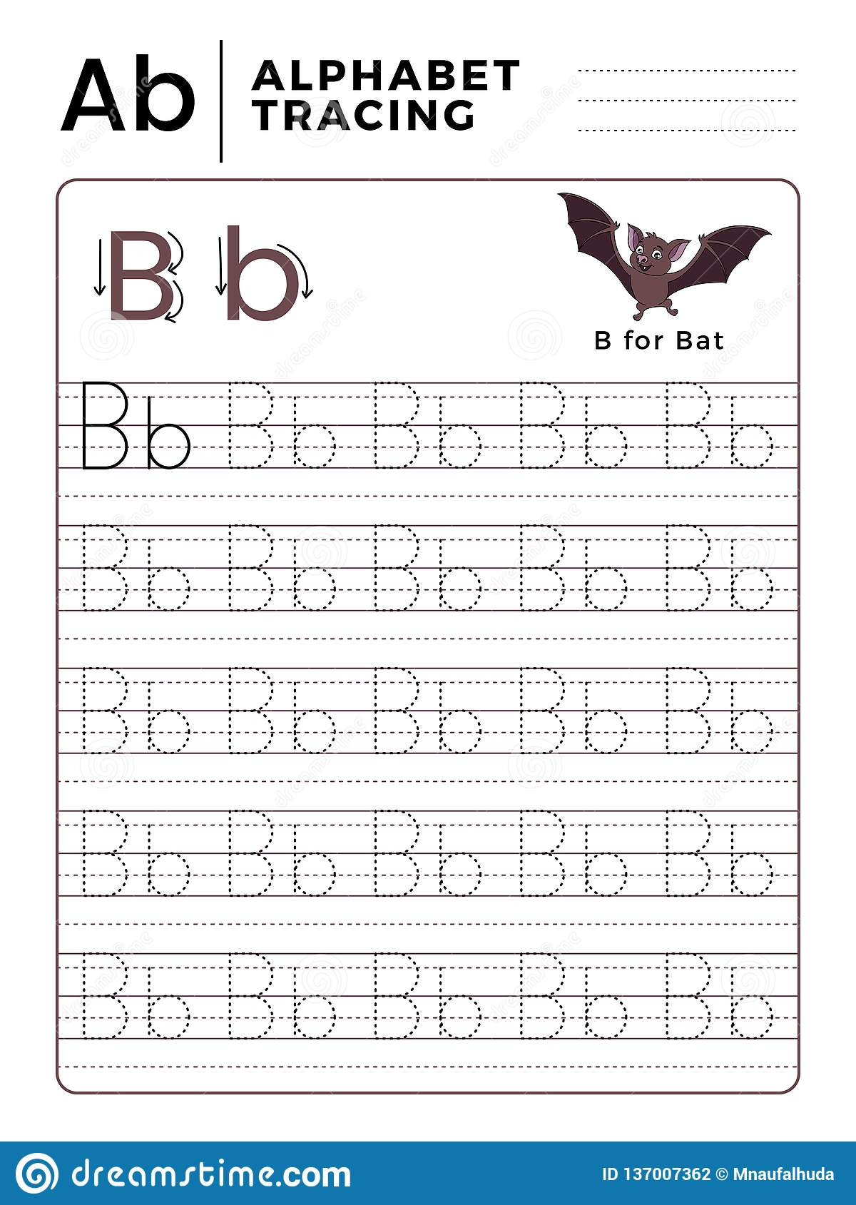 Letter B Alphabet Tracing Book With Example And Funny Bat