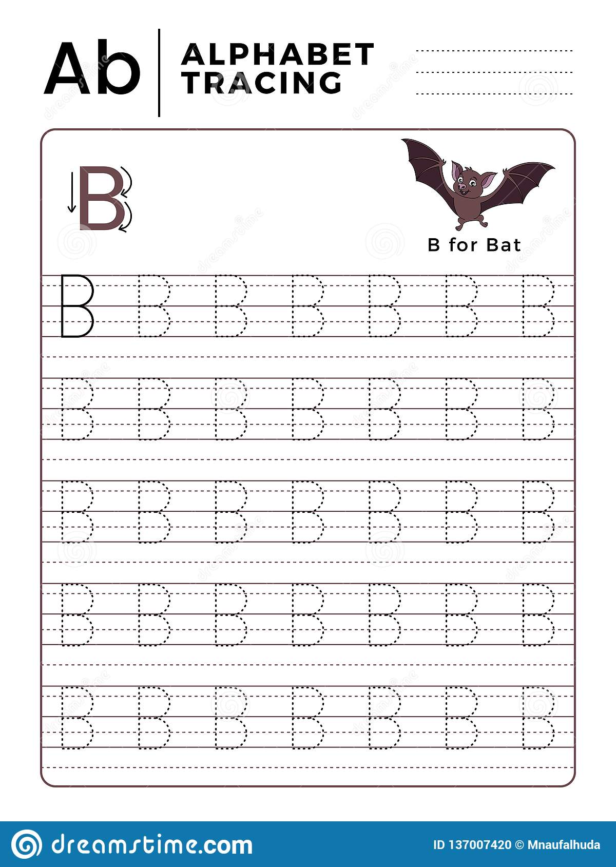 Letter B Alphabet Tracing Book With Example And Funny Bat Cartoon Preschool Worksheet For