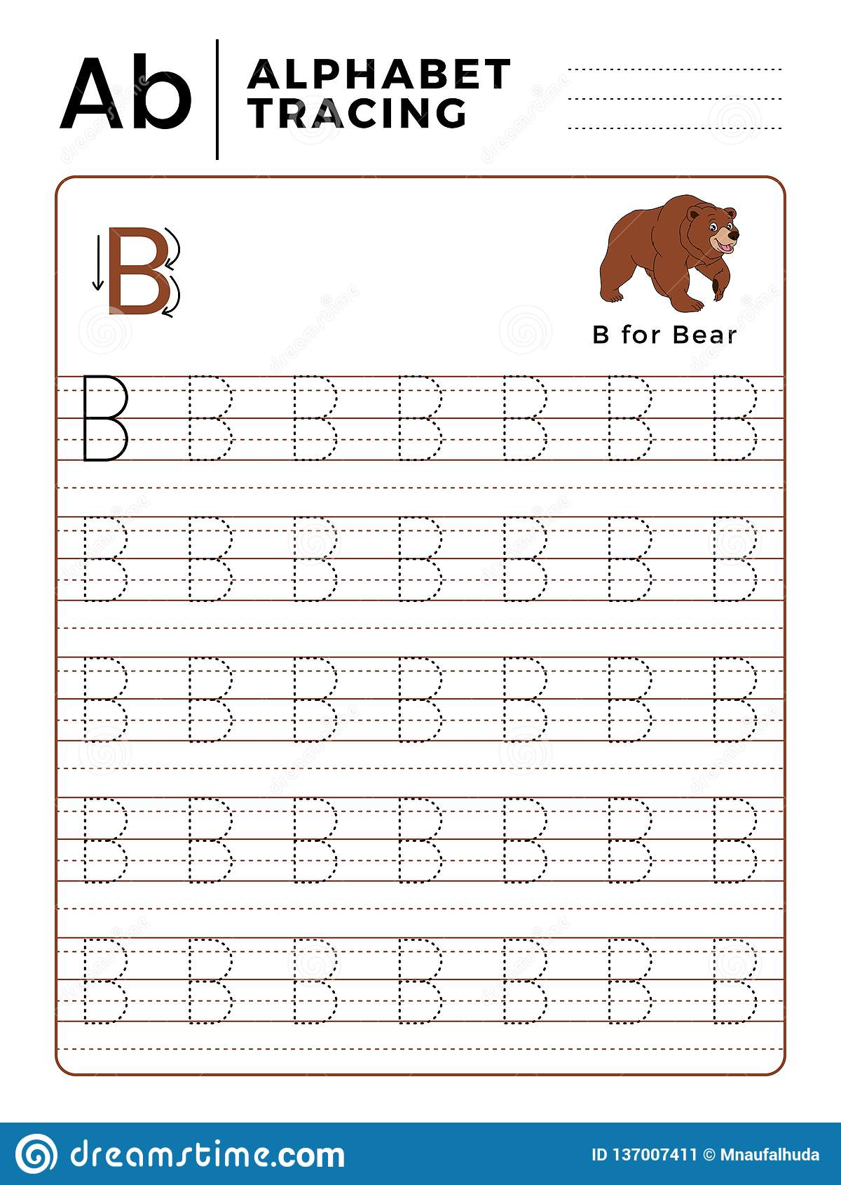 Letter B Alphabet Tracing Book With Example And Funny Bear
