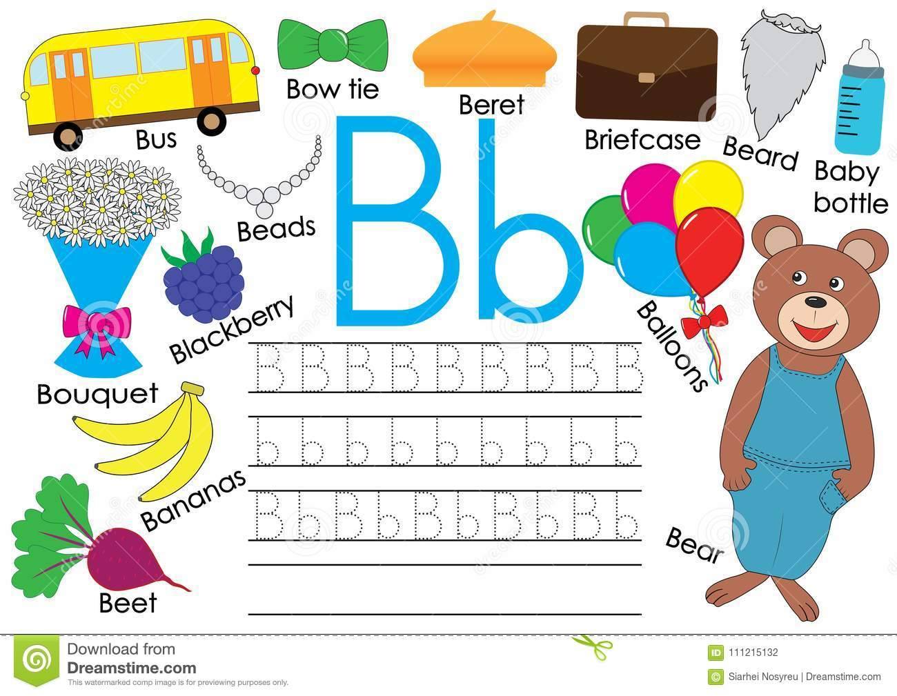 Letter B English Alphabet Writing Practice For Children