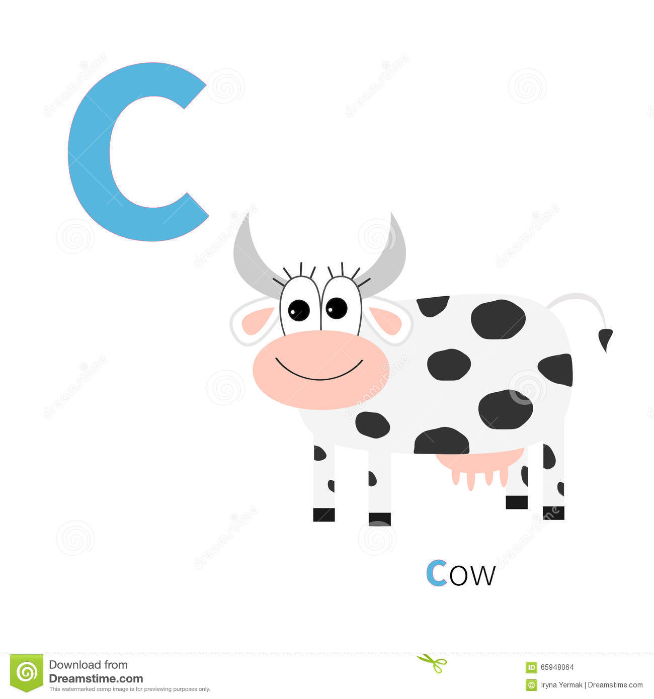 Letter C Cow Zoo Alphabet English Abc With Animals Education Cards For Kids White Background