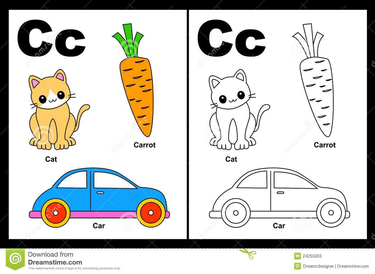 Letter C Worksheet Stock Vector Illustration Of Baby