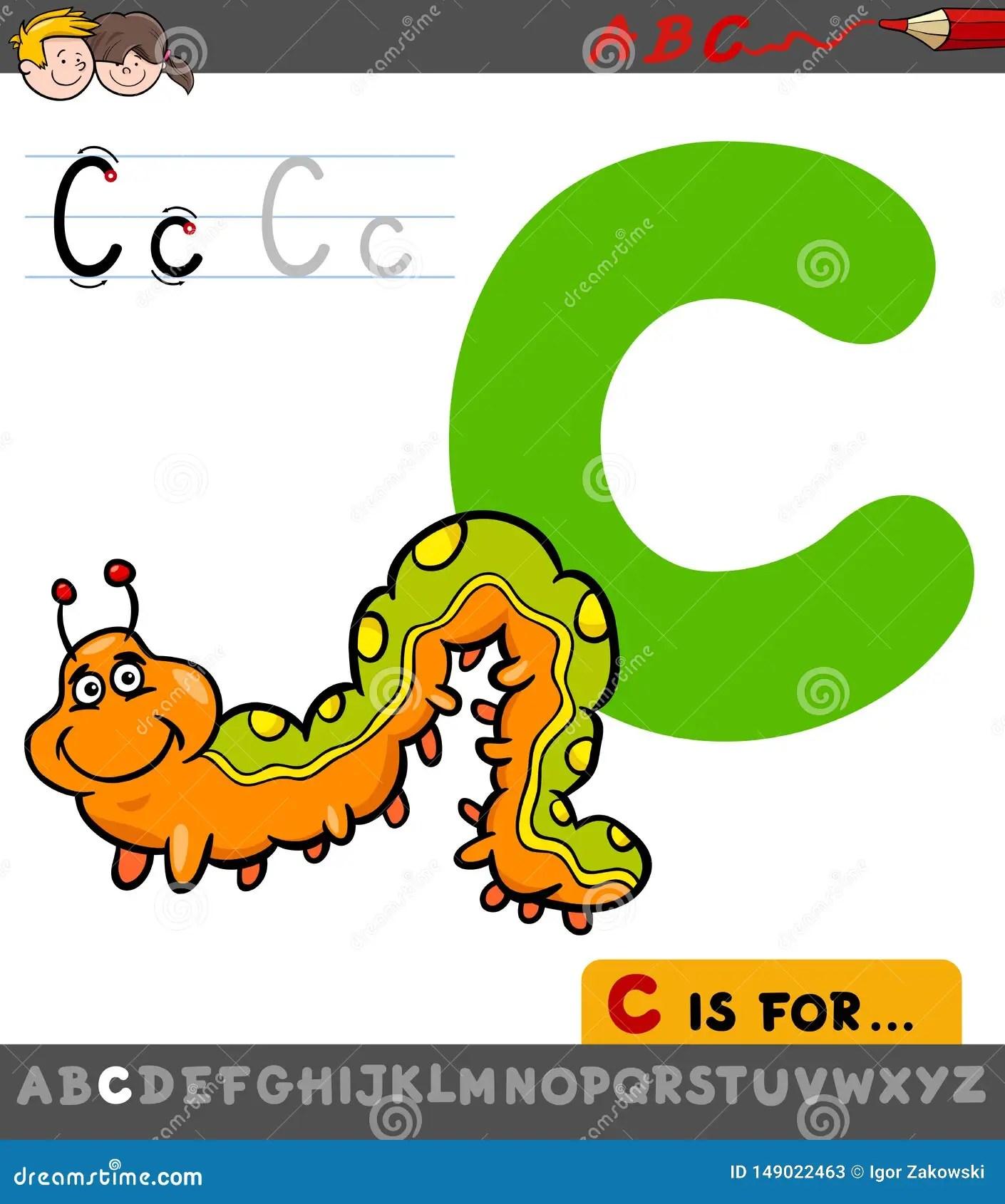 Letter C Worksheet With Cartoon Caterpillar Stock Vector