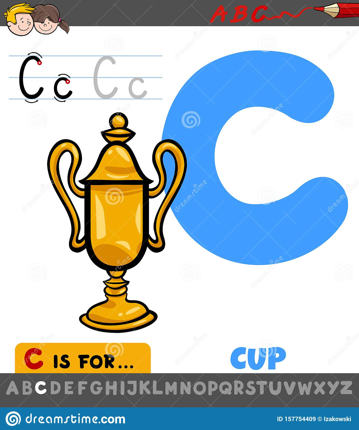 Letter C Worksheet With Cartoon Cup Stock Vector