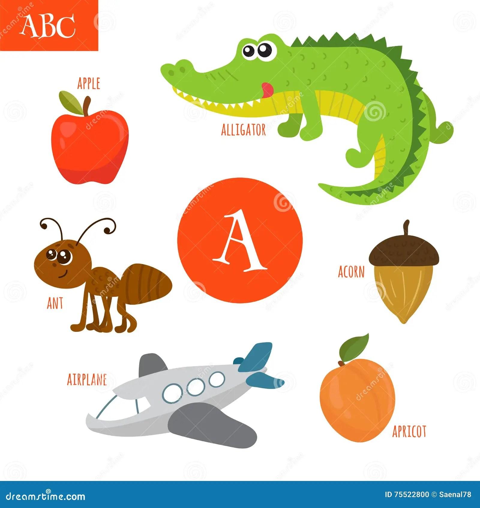 Letter A Cartoon Alphabet For Children Alligator Ant