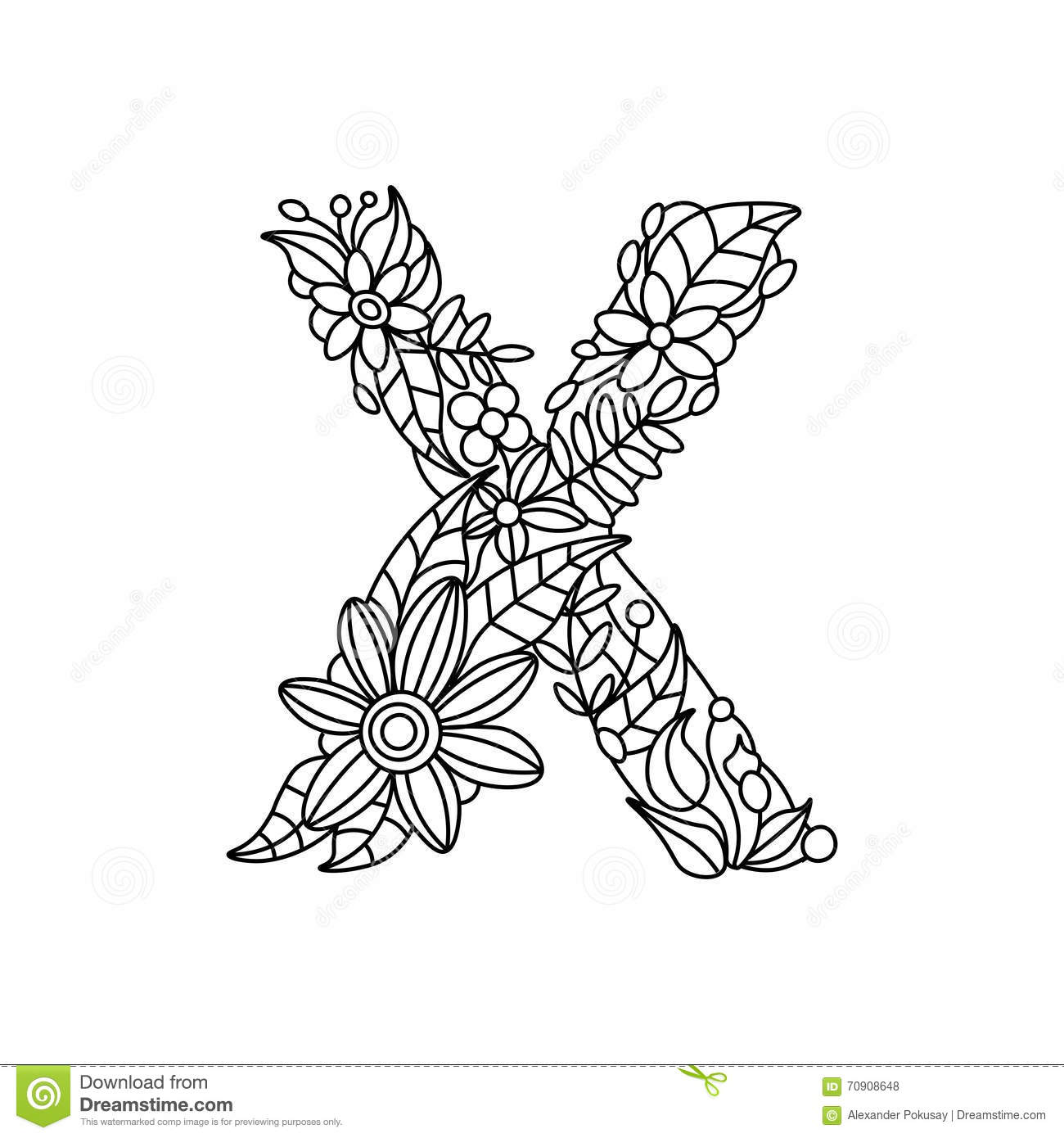 Letter X Coloring Book For Adults Vector Stock Vector