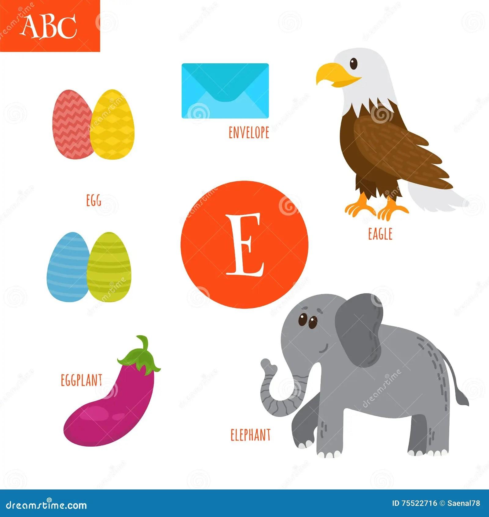 Letter E Cartoon Alphabet For Children Egg Eggplant Elephant Stock Vector