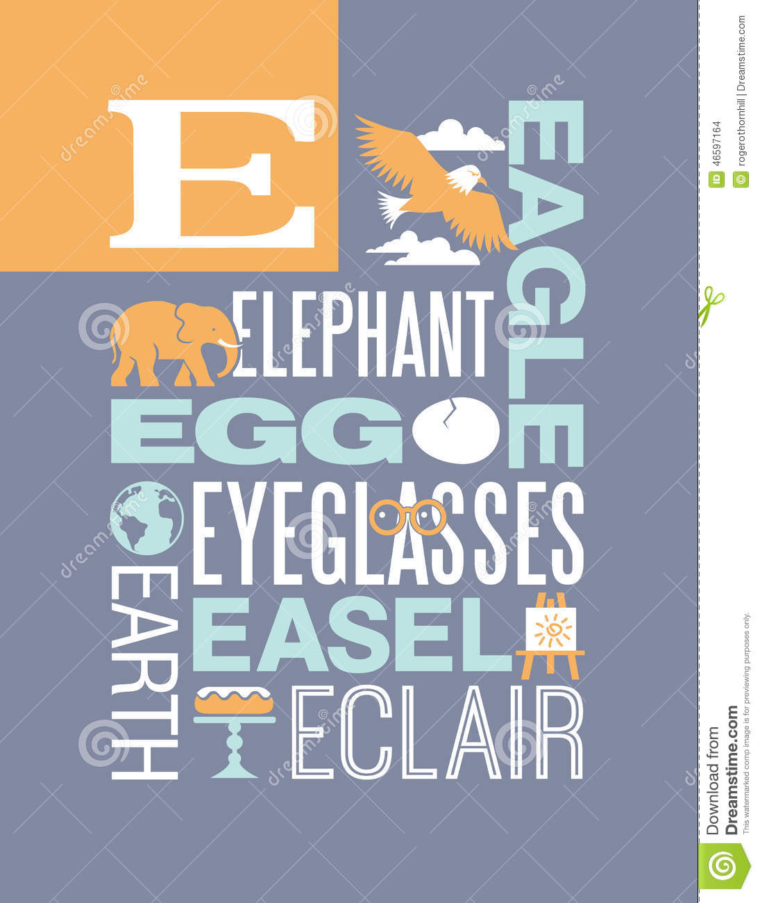 Letter E Words Typography Illustration Alphabet Poster