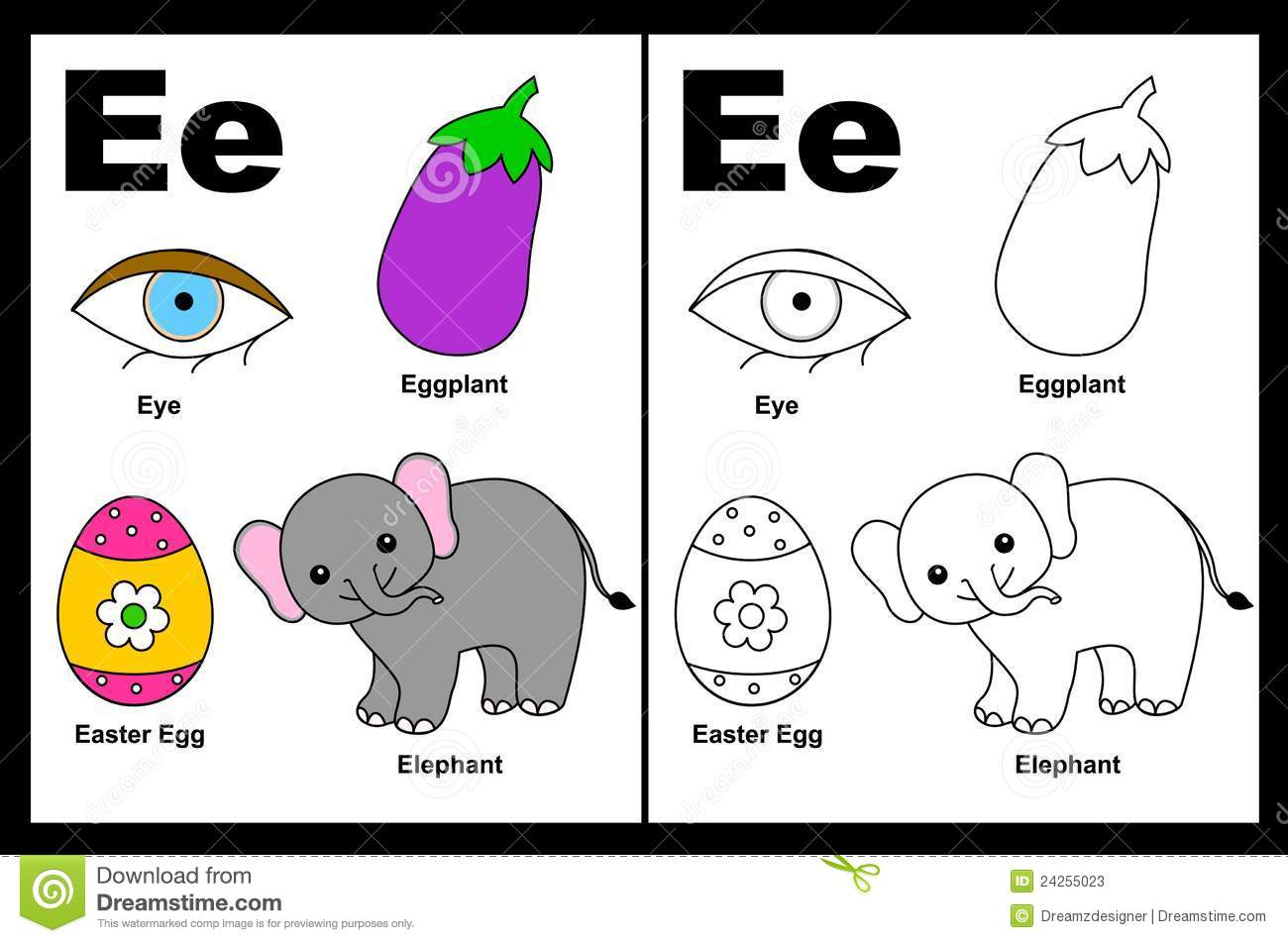 Letter E Worksheet Stock Photos