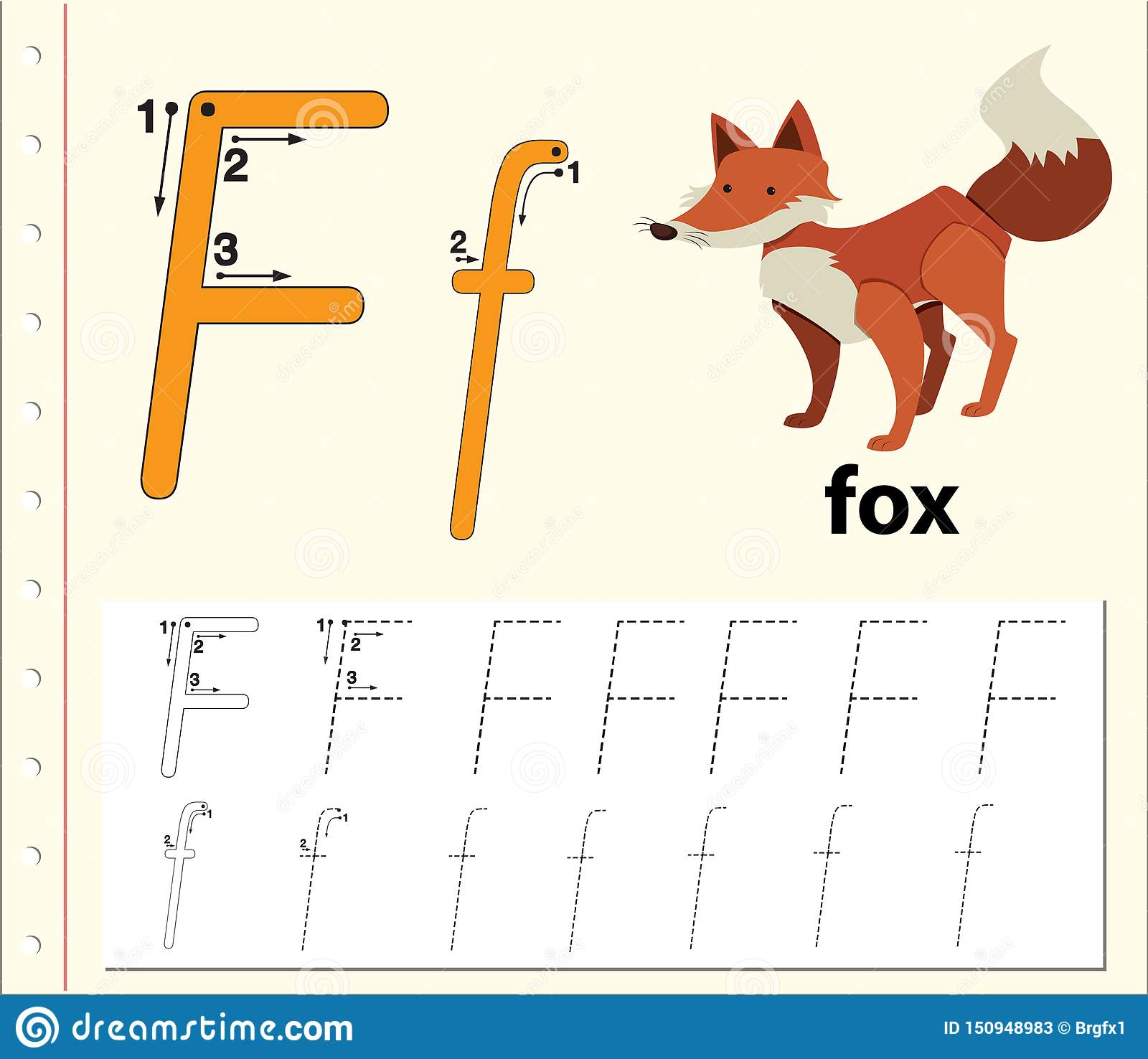 Letter F Tracing Alphabet Worksheets Stock Vector