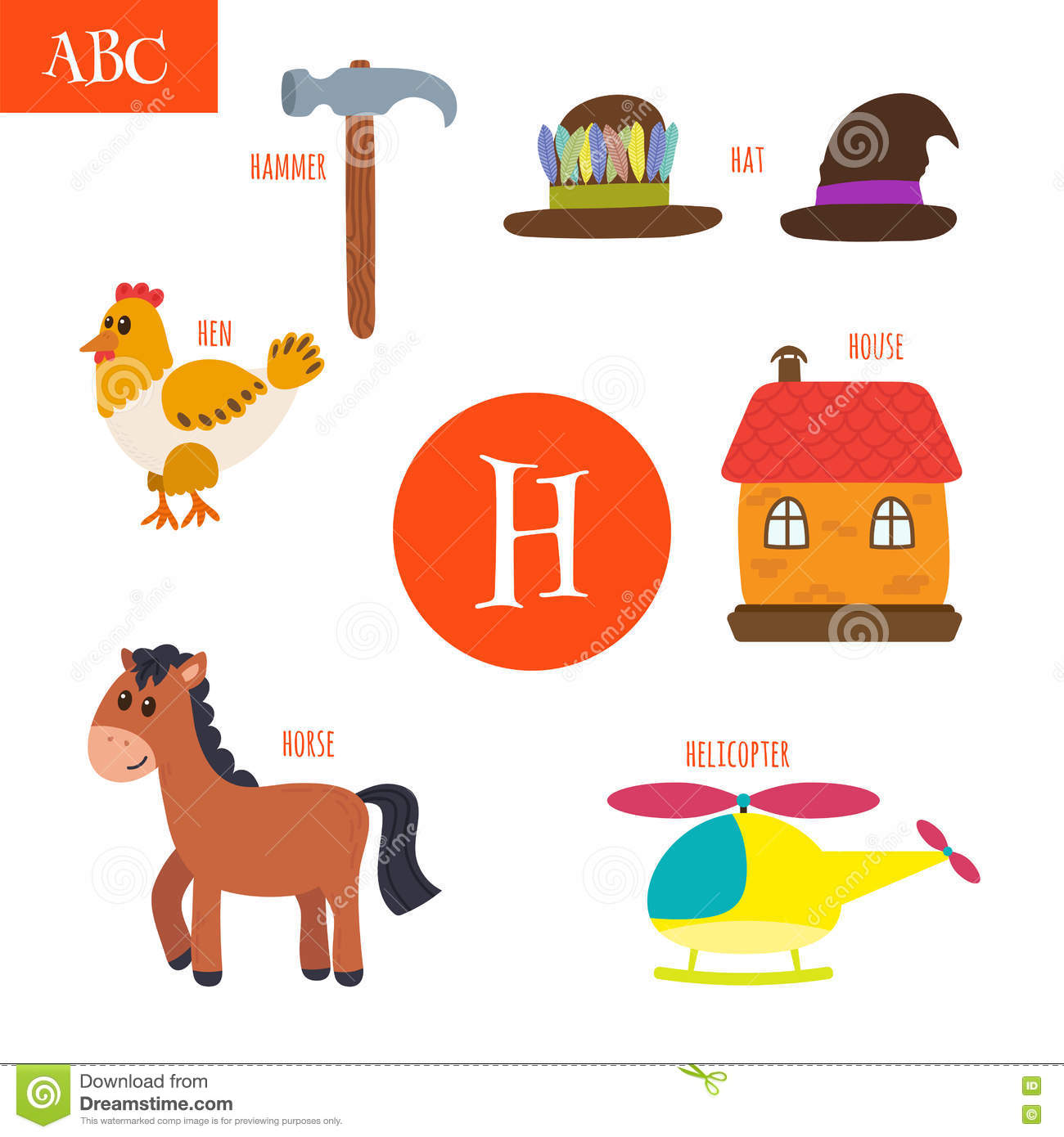 Letter H Cartoon Alphabet For Children Hen Horse Hat