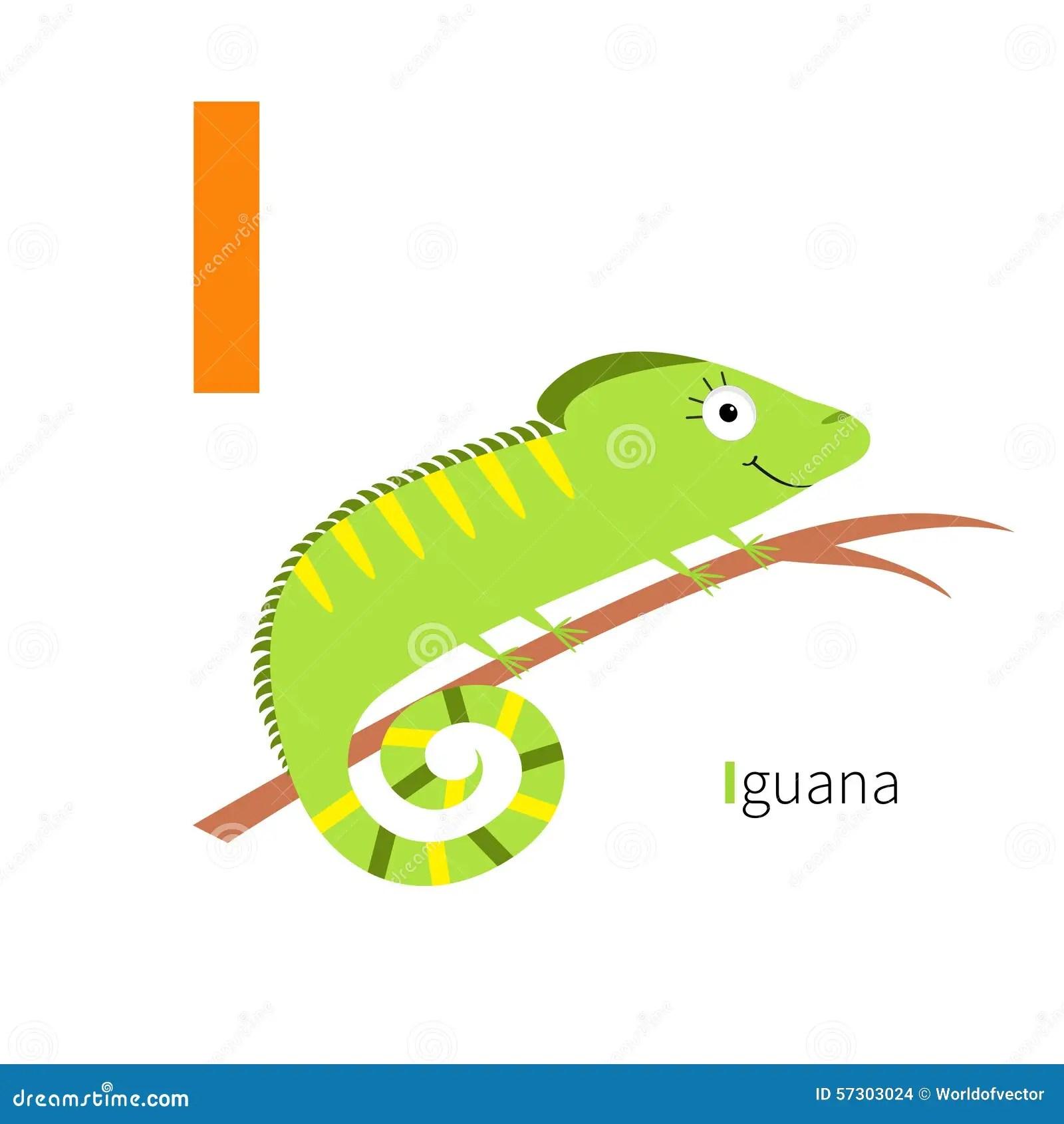 Letter I Iguana Zoo Alphabet English Abc With Animals