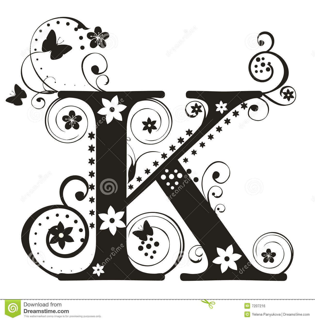 Letter K Stock Vector Image Of Flower Character Typeset