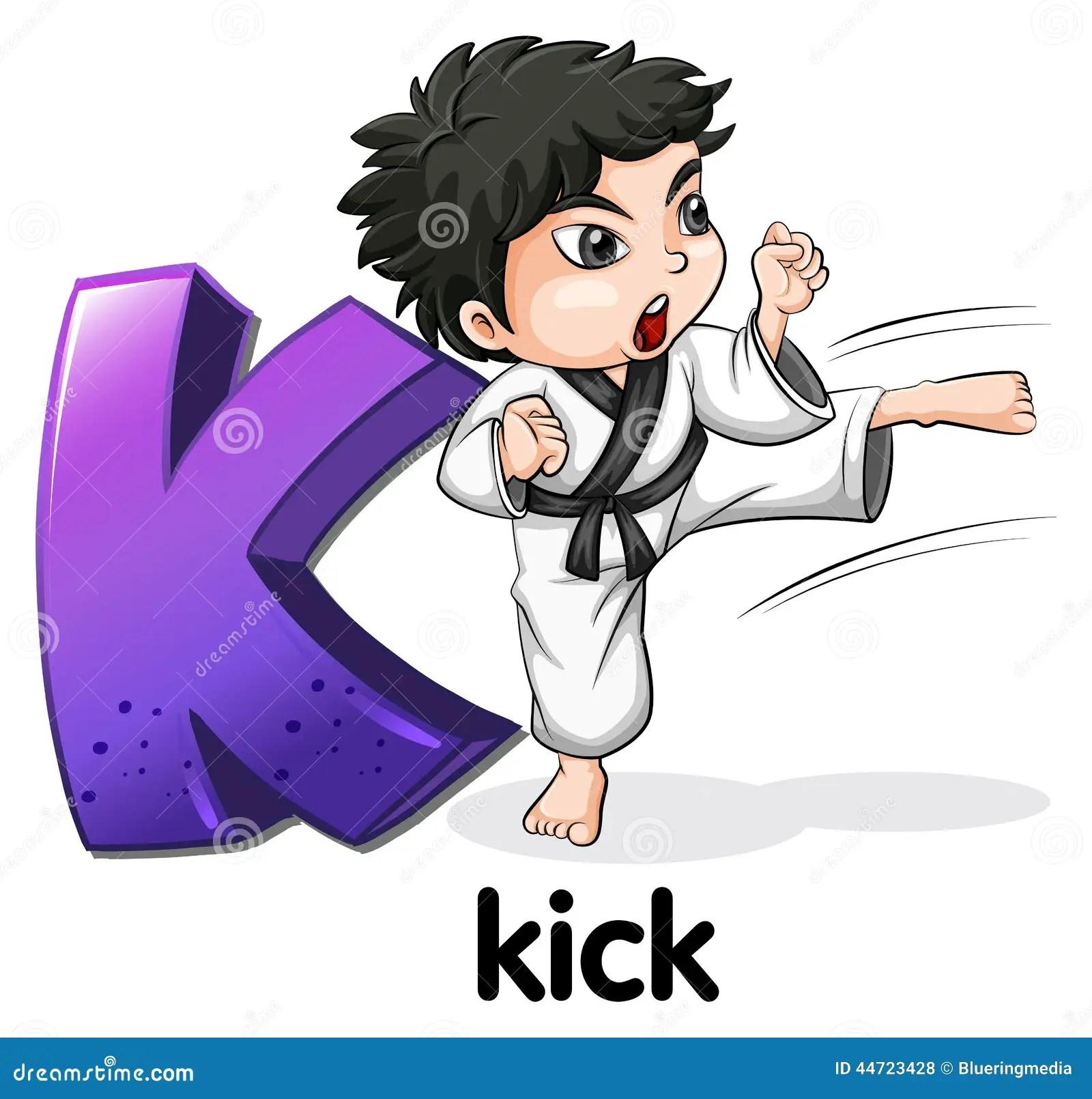 Letter K For Key Kick And Kookaburra Vector Illustration