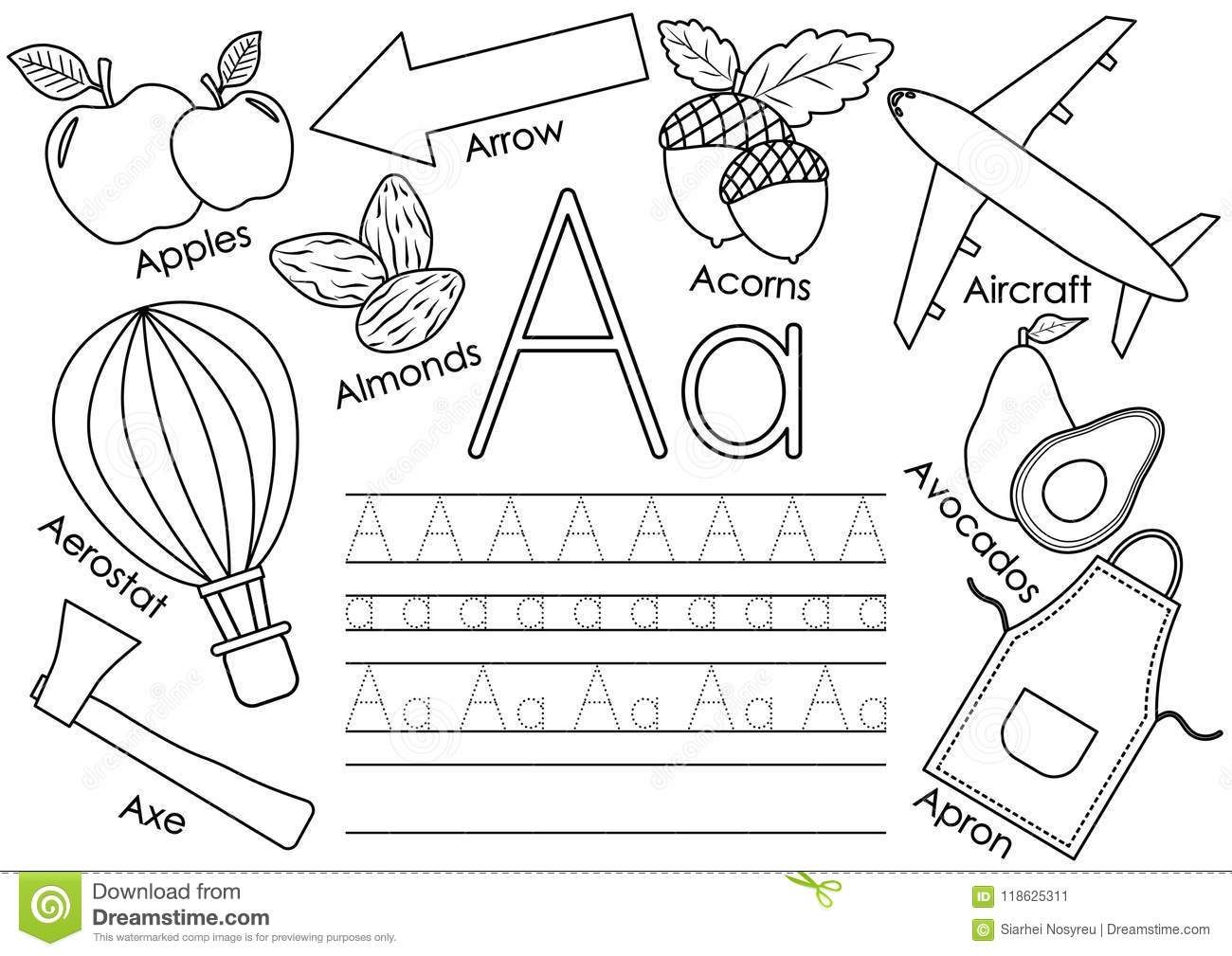 Letter A Learning English Alphabet With Pictures Stock