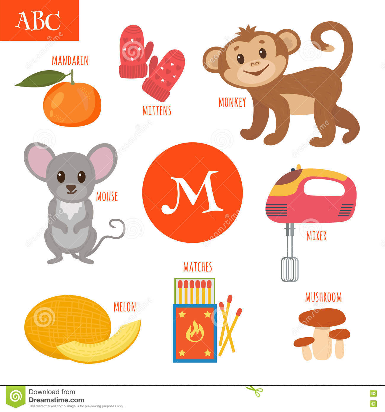 Letter M Cartoon Alphabet For Children Monkey Mouse