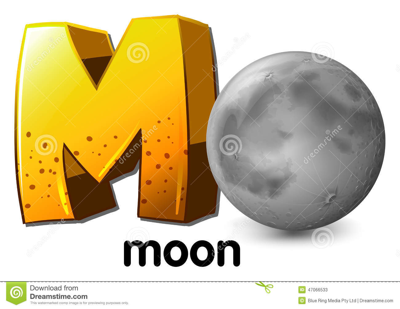 A Letter M For Moon Stock Vector Image Of Illustration