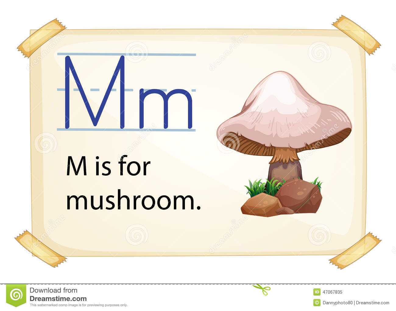 A Letter M For Mushroom Stock Vector