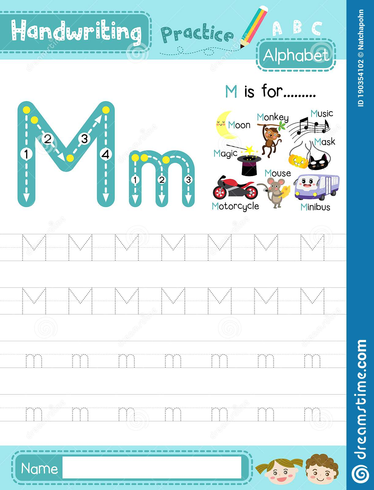 Letter M Uppercase And Lowercase Tracing Practice