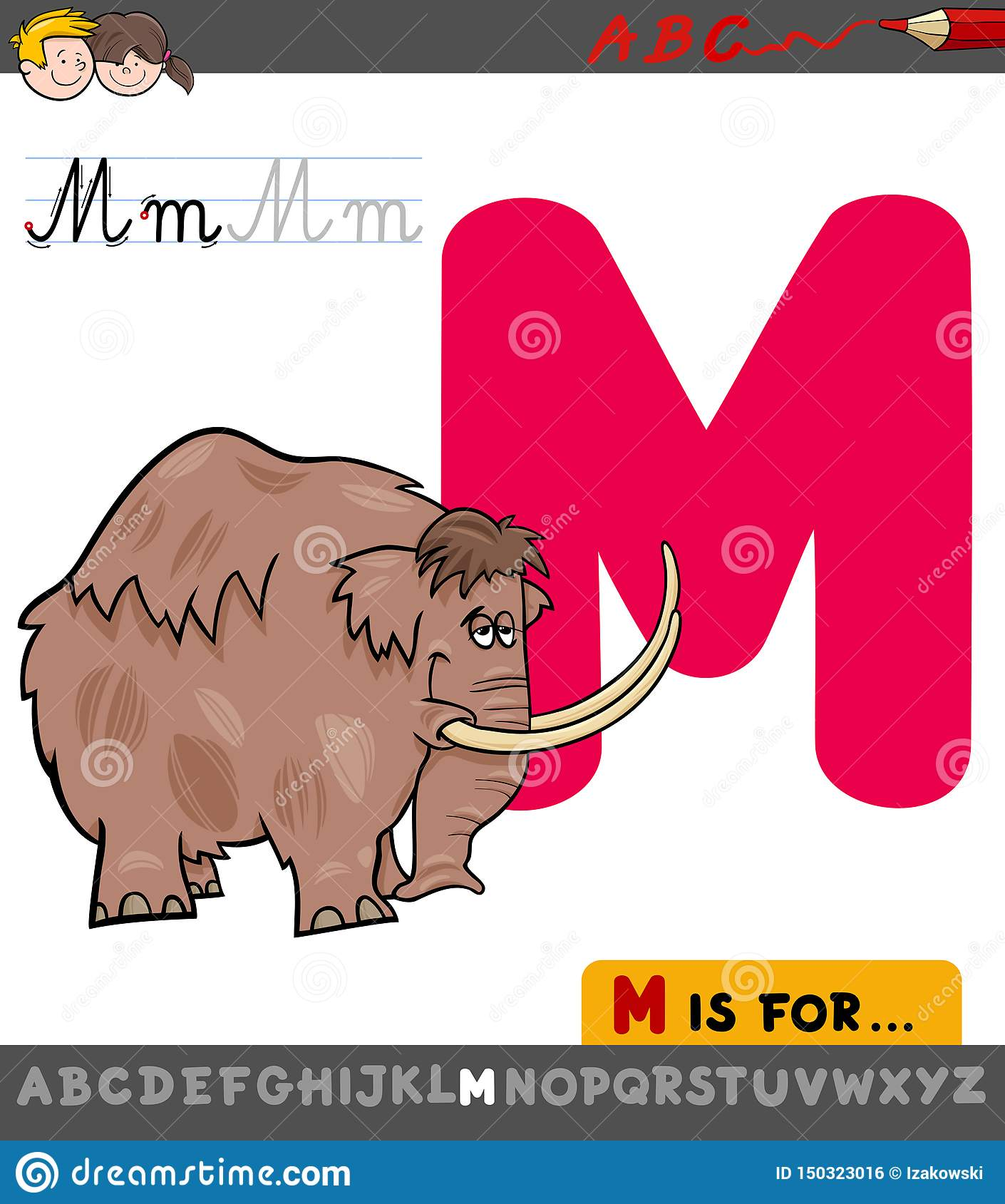 Letter M Worksheet With Cartoon Mammoth Stock Vector