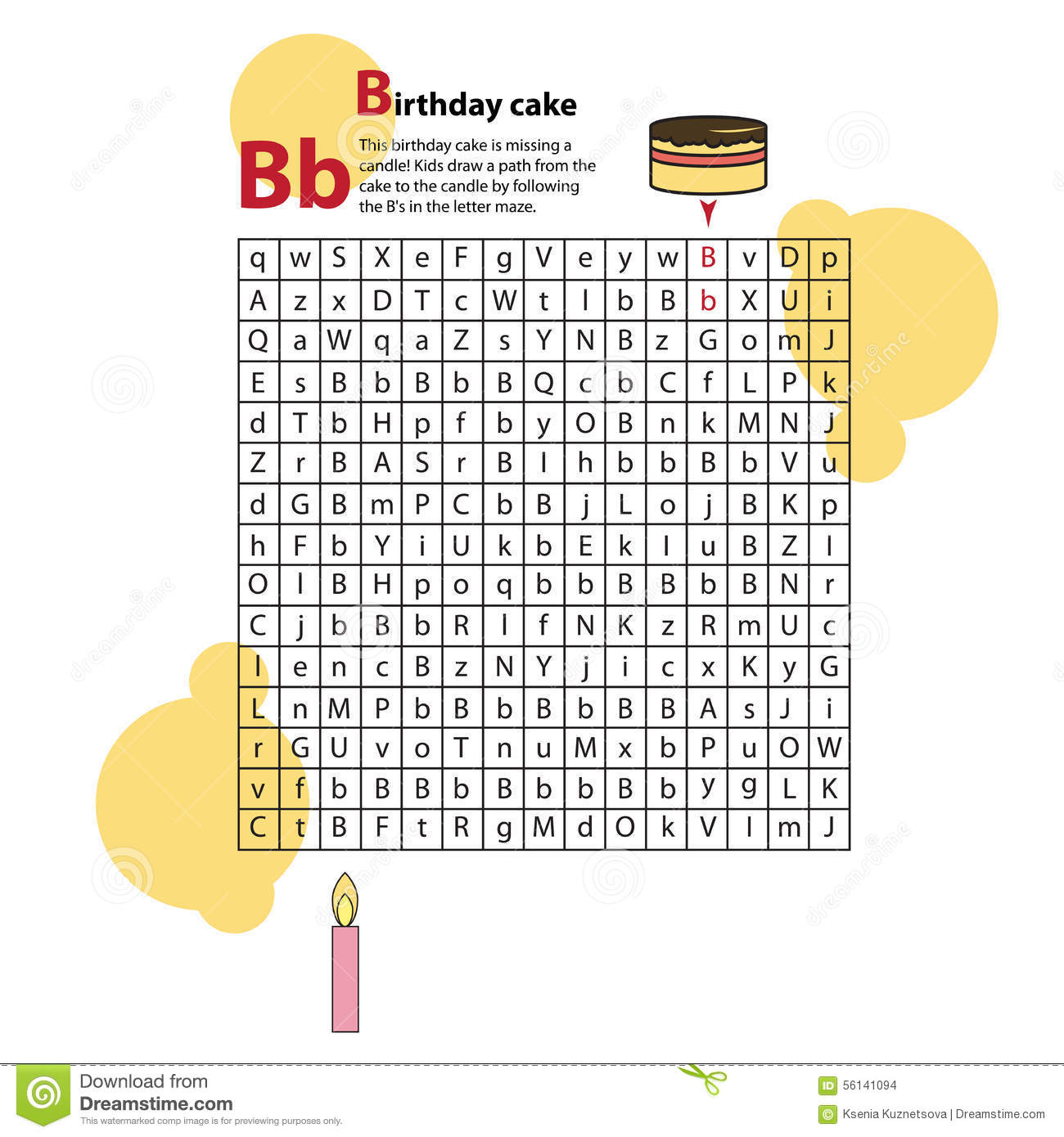 Letter Maze B This Worksheet Helps Kids Recognize Stock